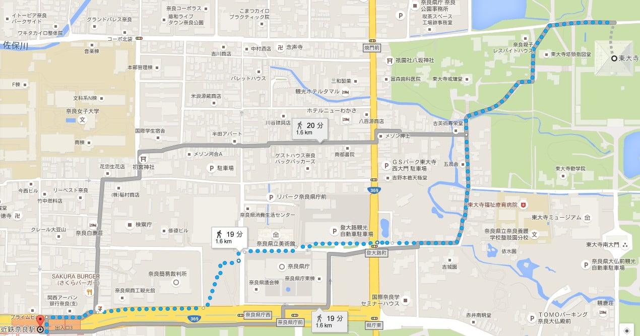 近鉄奈良駅から東大寺までの距離は?