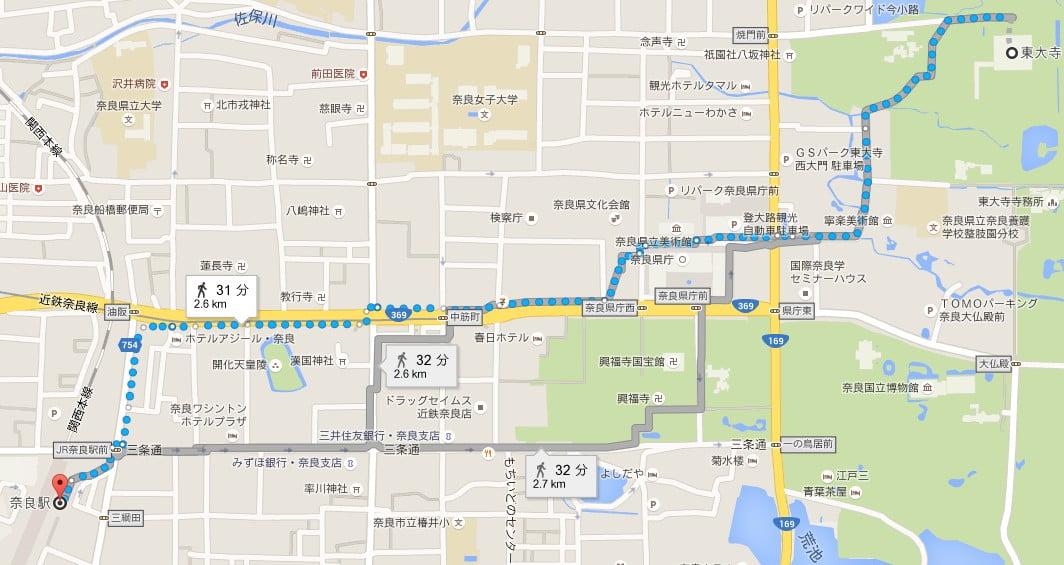 JR奈良駅から東大寺までの距離は?