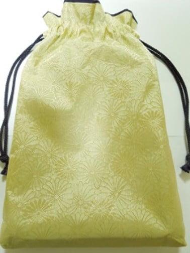 「金色に菊の花の織柄」の御朱印袋 (2)