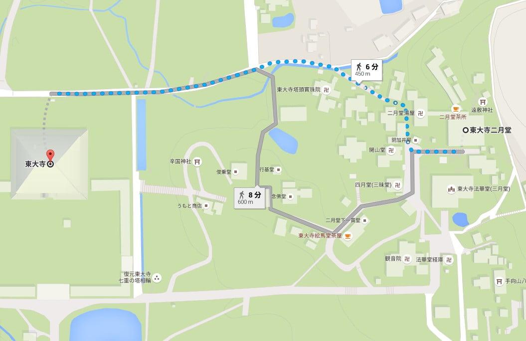 東大寺から二月堂までの「距離と所要時間」